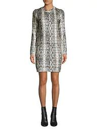 Snakeskin-Print Mini Sweater Dress