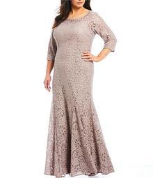 Plus Size Sequin Lace Long Gown
