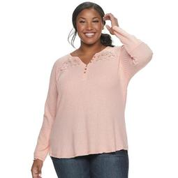 Juniors' Plus Size American Rag Lace Yoke Pullover