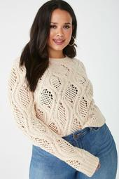Plus Size Open Cable-Knit Sweater