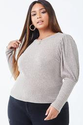 Plus Size Marled Gigot Sleeve Top
