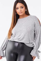 Plus Size Heathered Open-Shoulder Top