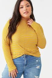Plus Size Striped Twisted Top
