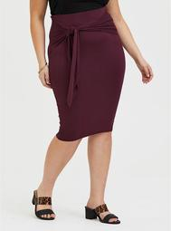Burgundy Purple Jersey Tie-Front Midi Skirt