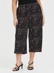 Black Leopard Heart Studio Knit Culotte Pant