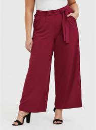 Wide Leg Tie Front Crepe Pant - Red Wine