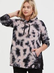 Mauve Pink & Black Tie-Dye Side Zip Tunic Hoodie