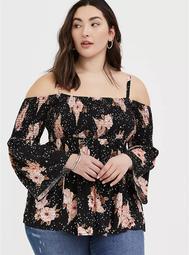 Black Floral Challis Cold Shoulder Top