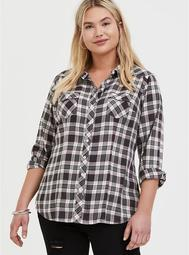 Taylor - Black Plaid Twill Button Front Relaxed Fit Shirt