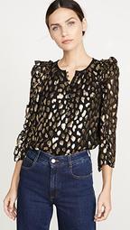 Long Sleeve Leopard Metallic Top