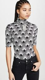 Patterened High Neck Top