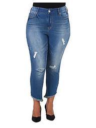 Plus Distressed Skinny Ankle Jeans