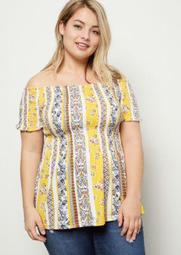 Plus Yellow Striped Floral Print Super Soft Babydoll Top