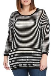 Plus Size Burnout Stripe Sweater