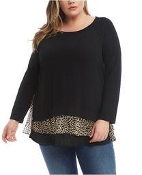 Leopard-Print Sheer-Hem Sweater