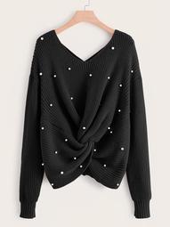 Plus Pearl Beaded Twist Criss-cross Sweater