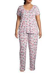 Plus Kissy Lips 2-Piece Pajama Set