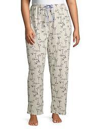 Plus Romantic Cocktail Cotton-Blend Pajama Pants
