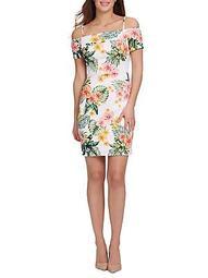 Floral-Print Slim-Fit Sheath Dress
