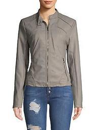 Scuba Front Zip Vegan Leather Jacket