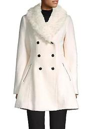 Faux Fur Shawl Collar Double-Breasted Flare Coat