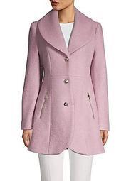 Shawl-Collar Single-Breasted Flare Coat