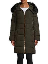 Faux Fur-Trim Quilted Coat