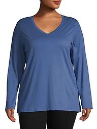 Plus Solid Long-Sleeve V-Neck Tee