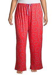 Plus Bitsy Flower Heart-Print Cotton-Blend Pajama Pants