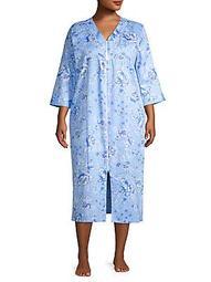 Plus Floral Satin Zip Nightgown