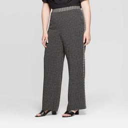 Women's Plus Size Mid-Rise Relaxed Trousers - Who What Wear™ Black 26W