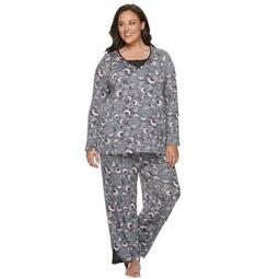 Plus Size Croft & Barrow® V-Neck Long Sleeve Knit Pajama Set With Lace