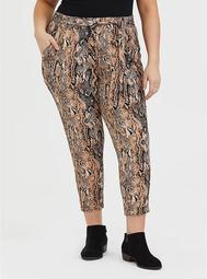 Snakeskin Print Crepe Tie-Front Tapered Pant