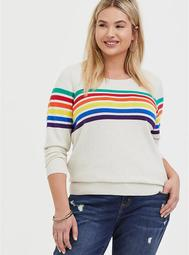 Oatmeal Rainbow Stripe Cotton Cashmere Sweater