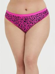 Super Soft Hot Pink Heart Leopard Microfiber Thong Panty