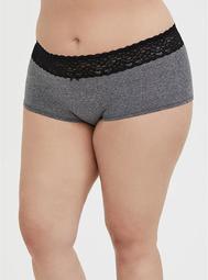 Heathered Dark Grey Wide Lace Cotton Boyshort Panty