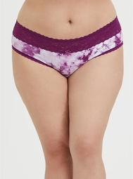 Purple Tie-Dye Wide Lace Cotton Hipster Panty