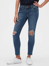 Mid Rise Destructed Legging Skimmer Jeans