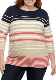 Plus Size Stripe 3/4 Sleeve Top