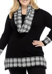 Plus Size Long Sleeve Infinity Scarf Sweater