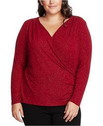 Plus Size Sparkle Jersey Faux-Wrap Top