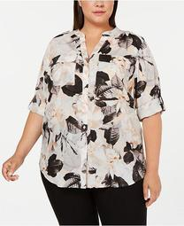Plus Size Printed Roll-Tab Top