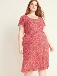Waist-Defined Printed Button-Front Plus-Size Midi Dress