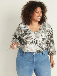 Plus-Size Tie-Neck Printed Swing Blouse