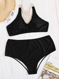 Plus Crochet Back Top With High Waist Bikini