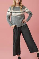 Long sleeve jaquard sweater