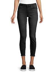 Fringe-Hem Skinny Ankle Jeans