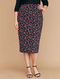 Printed Scuba Midi Pencil Skirt - Cherry Print