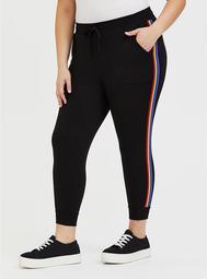 Black & Rainbow Stripe Terry Crop Jogger
