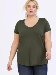 Classic Fit V-Neck Tee - Heritage Cotton Olive Green